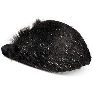 INC Fluffy Fur Scuff Slides Slippers Black Silver
